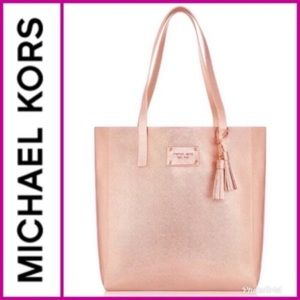 Michael Kors Rose Gold Metallic Tote Bag Purse NEW